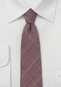 Autumn Red Color Chambray Wool Tie
