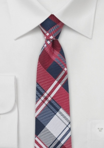 Boys Sized Plaid Necktie in Reds and Blues