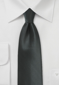Textured Woven XL Length Tie in jet Black