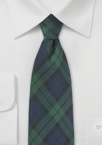 Navy and Hunter Green Tartan Plaid Kids Tie