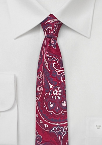 Narrow Cut Paisley Tie in Bright Red