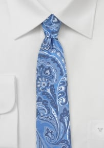 Powder Blue Paisley Silk Tie in Skinny Cut