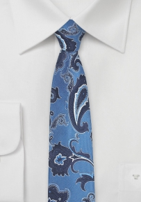 Stylish Blue Paisley Tie in Skinny Cut