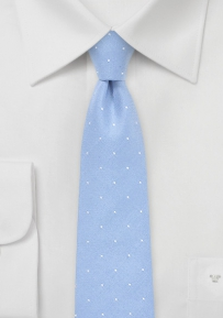 Sky Blue Polka Dot Skinny Tie in Cotton