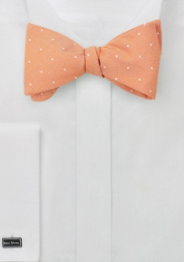 Peach Coral Bow Tie with White Dots