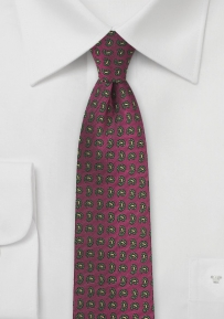 Trendy Paisley Tie in Red, Gold, and Olive Green