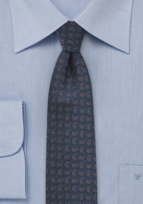 Paisley Silk Tie in Skinny Cut Navy and Red