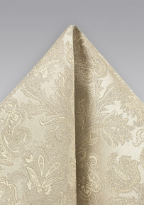 Paisley Weave Silk Pocket Square in Champagne