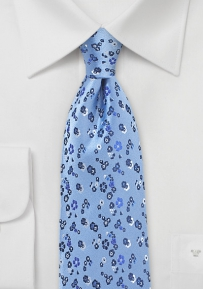 Floral Necktie in Light Blue, Navy, and Silver