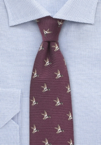 Outdoorsmen Collection Flying Ducks in Maroon Red