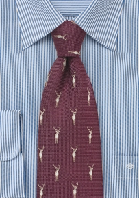 Outdoorsmen Tie in Maroon with Stags