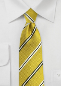 Citrine Silk Tie with Silver and Black Stripes