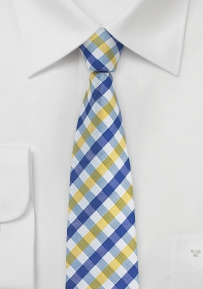 Gingham Silk Tie in Skinny Width in Yellow and Blue