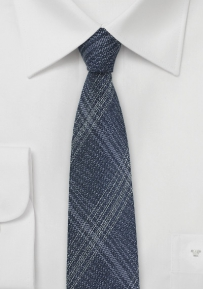 Denim Look Skinny Tie in Pure Silk