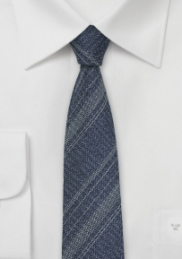 Striped Skinny Designer Tie in Denim Look