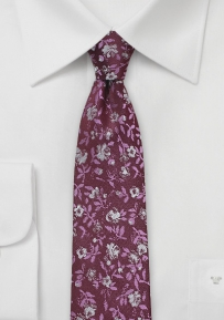 Skinny Flower Print Tie in Dark Red