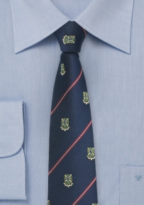 Repp Texture Striped Tie with Crests