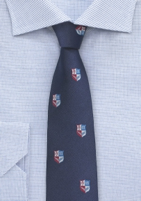 Crested Repp Tie in Dark Blue