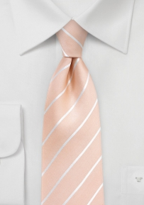 Pale Peach Silk Tie with Stripes