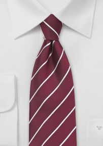 Classic Business Striped Tie in Burgundy