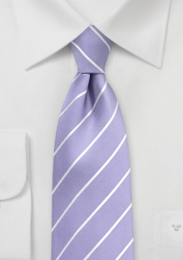 Viola and White Striped Silk Tie