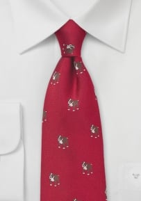 Bulldog Print Silk Tie in Cherry Red