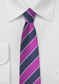 Repp Stripe Skinny Tie in Violet and Navy