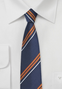 Slim Cut Tie in Orange and Navy