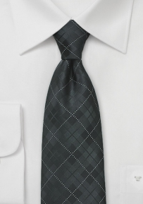 Jet Black Plaid Tie in Extra Long Length
