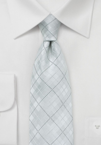 Checkered Kids Necktie in White