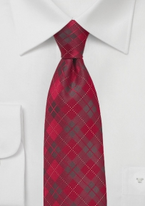 Candied Apple Red Plaid Tie in XL