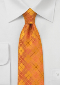 Bold Orange Tie for Boys with Plaid