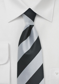 Collegiate Repp Stripe Tie in Black and Silver