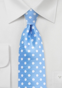 Bright Alaskan Blue Summer Tie with Polka Dots