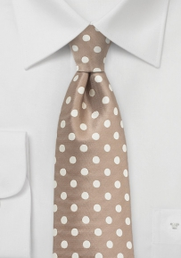 Polka Dot Designer Tie in Warm Taupe