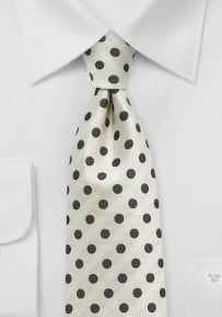 Ivory and Brown Polka Dot Tie