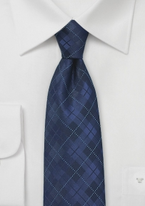 Men's Extra Long Tie in Navy with Plaid