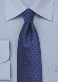 Dark Navy Blue Tie with Dots