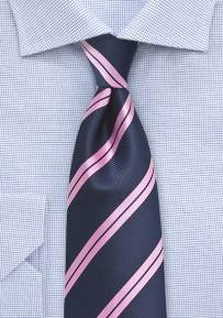 Preppy Summer Tie in Navy and Pink