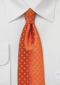 Bright Carrot Orange Polka Dot Tie