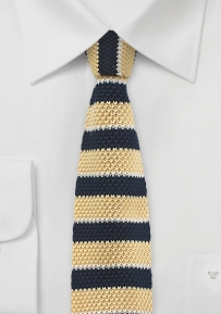 Blue and Yellow Silk Knit Necktie