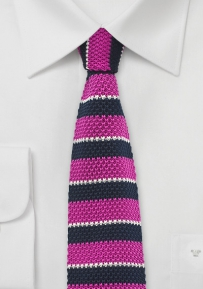 Knit Tie in Navy Blue and Pink
