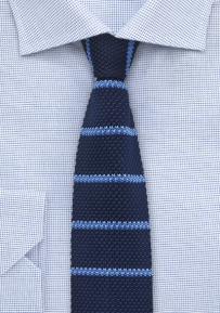 Silk Knit Designer Tie in Blue