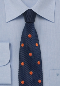 Navy Blue and Orange Silk Knit Polka Dot Tie