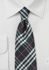 Trendy Tartan Necktie in Black, Silver, Red