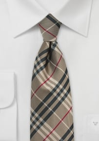 Boys Tie with Golden Bronze Tartan Plaid