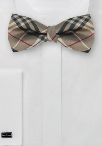Tartan Self Tie Bow Tie in Golden Bronze