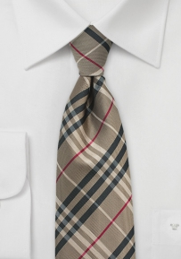 Tartan Plaid Designer Tie in Bronze Brown