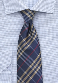 XL Plaid Tie in Navy and Beige