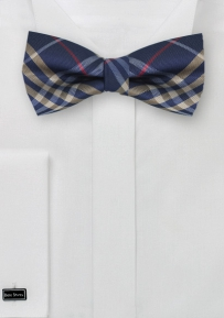 Plaid Mens Bow Tie in Navy, Gold, and Red
